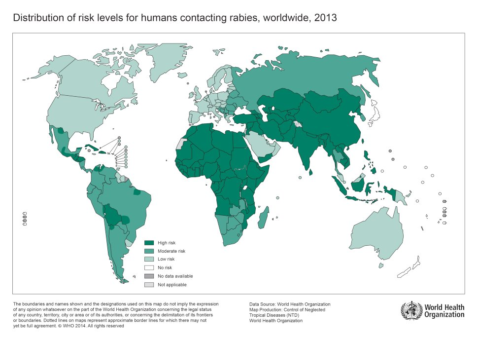 Distribution of risk levels for humans contracting rabies worldwide 2013