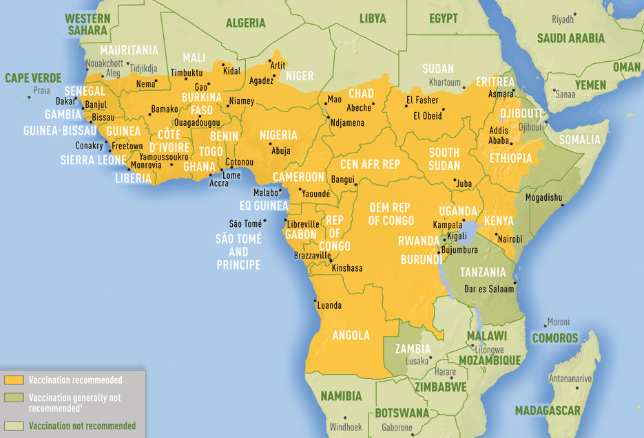 Map of yellow fever vaccincation reccomendation in Africa