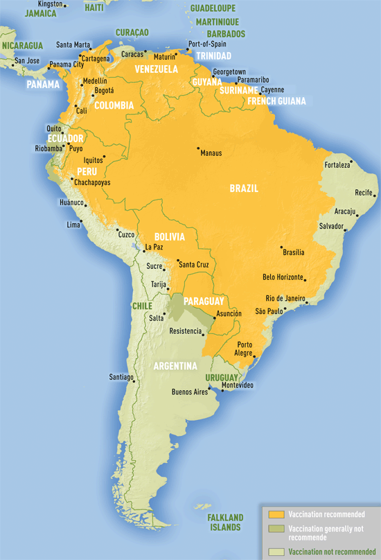 Yellow fever vaccine recommendations in the Americas (July 2015)